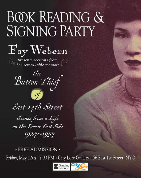 Poster: Fay Webern reads at City Lore Gallery